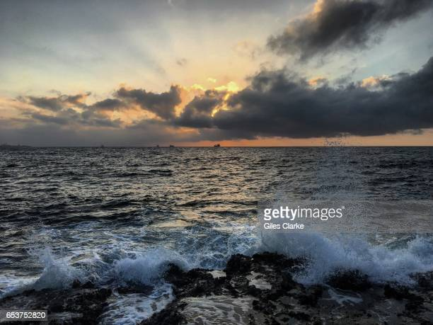 Sunrise over the Arabian Sea from a city beach in central Mogadishu