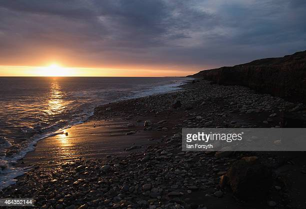 Sunrise over the beach in Horden a former East Durham mining village on February 24 2015 in Horden England The North east coastal town is part of the...