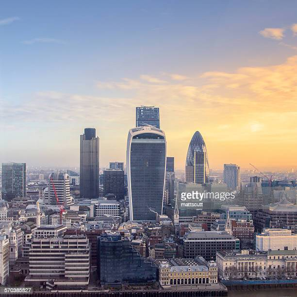 Sunrise over the City of London, UK