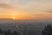 Sunrise,Urban Skyline, Cross, Munich, Sun, Moon