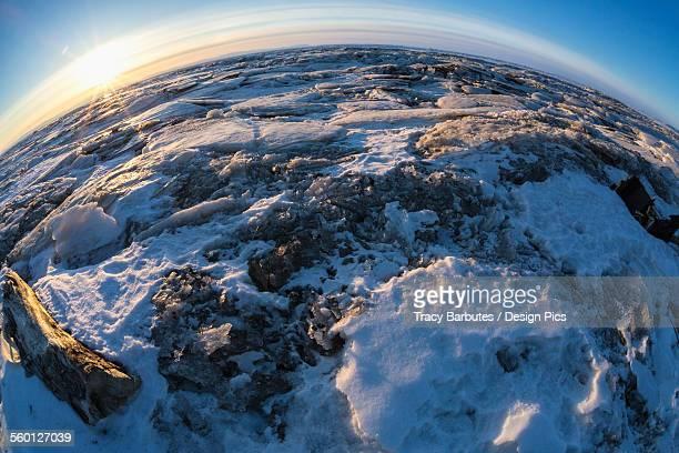 Sunrise over the Norton Sound sea ice during Iditarod