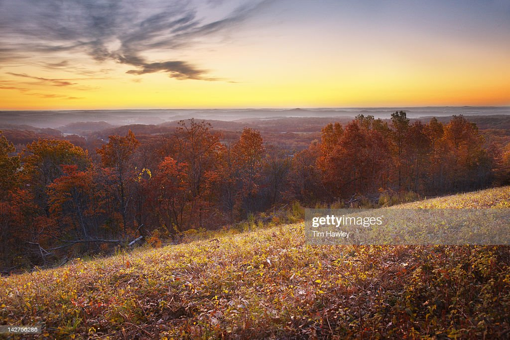 Sunrise over the Ozarks, fall color