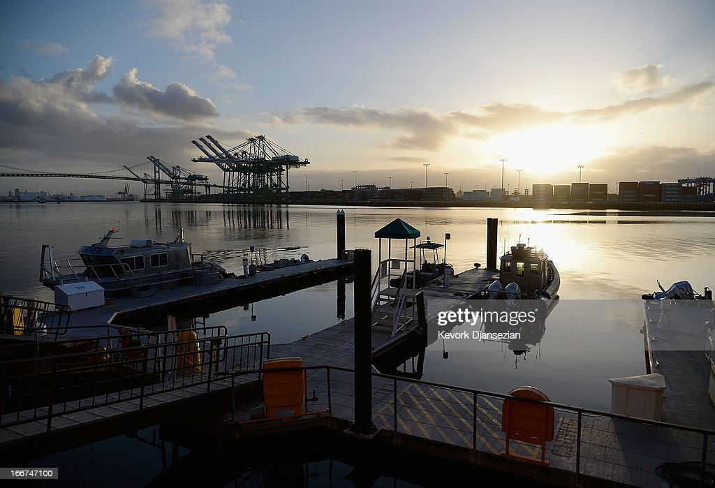 Sunrise over the Port of Los Angeles on April 16 2013 in San Pedro California The Port of Los Angeles Police were under a heightened state of alert...