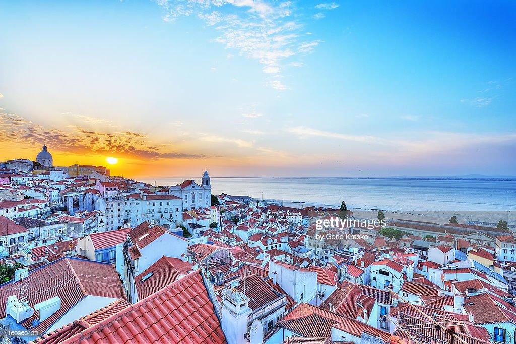 Sunrise over the rooftops of Alfama. Lisbon