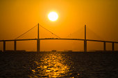 Sunrise over the Sunshine Skyway Bridge in Tampa Bay.
