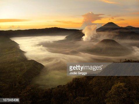 Sunrise over Volcano in Indonesia