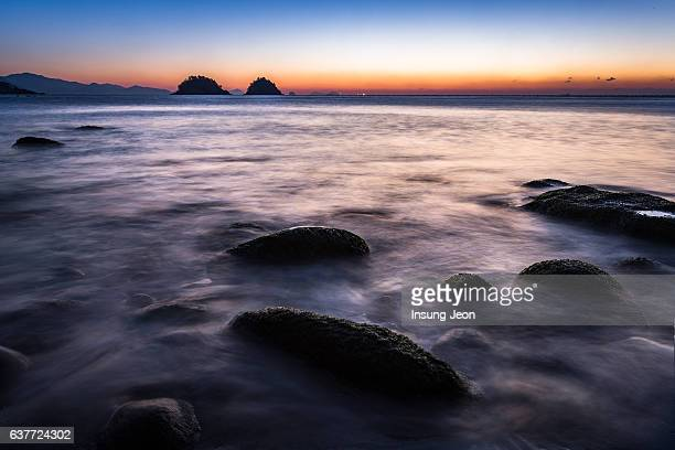 Sunrise over Yeosu Musulmok Beach
