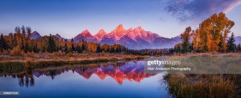 Sunrise panorama Grand Teton Mountains