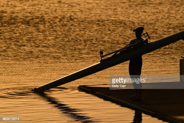 Sunrise preparation on the morning of Day 7 during the Sydney International Rowing Regatta at Sydney International Regatta Centre on April 2 2017 in...