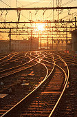 Railroad tracks of Perrache station, Lyon, during sunrise.