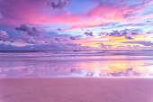 A sunrise over the pacific ocean on Queensland's Gold Coast in Australia