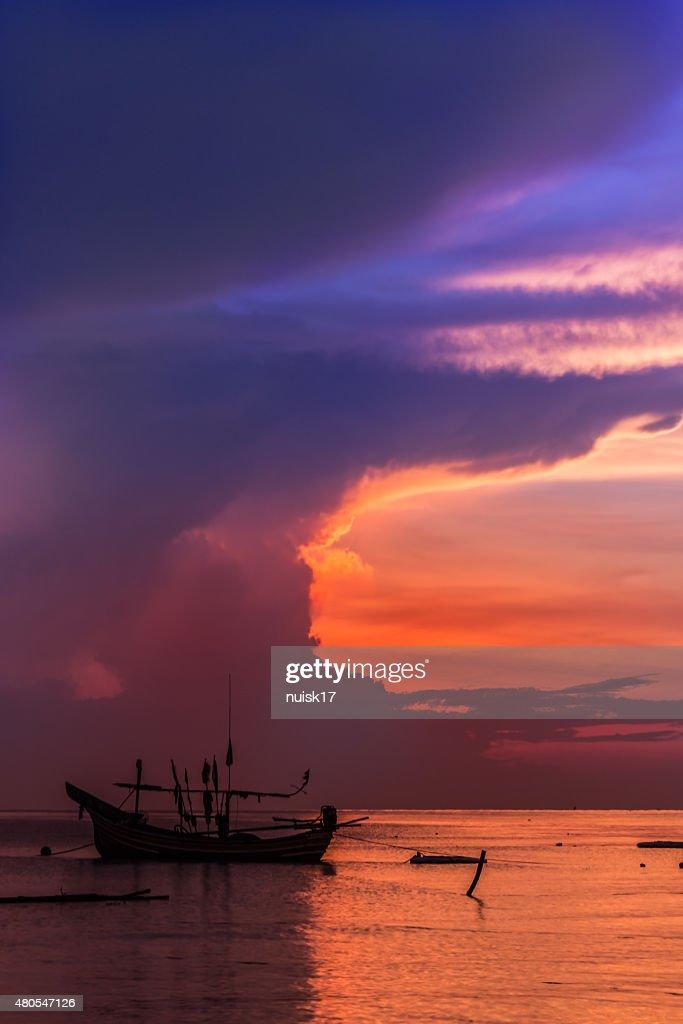 Sunrise Sea to Sky rainy and livelihoods of fishermen Thailand. : Stock Photo