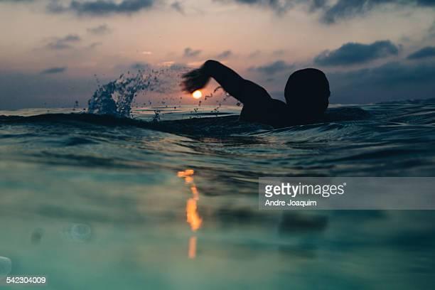 Sunrise swimming