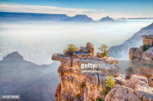 Sunrise Through the Fog in the Grand Canyon, Arizona : Stock Photo