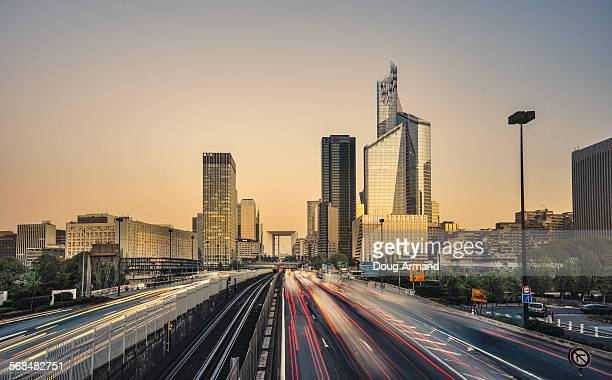 Sunrise towards the La Defense skyline, Paris
