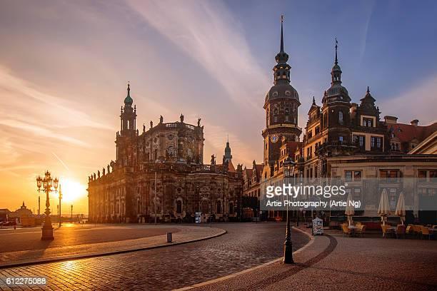Sunrise View of Dresden Cathedral (Katholische Hofkirche) and Dresden Castle (Dresdner Schloss) at Theaterplatz, Dresden, Germany