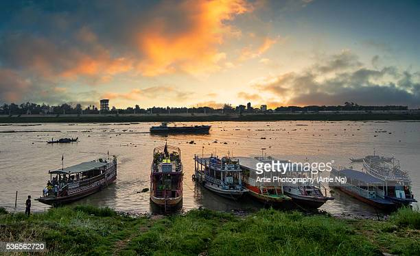 Sunrise View of Mekong River with Passenger Ferries at Siem Reap, Cambodia