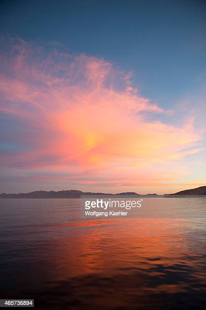 Sunrise with beautiful cloud formations at San Francisco Island in the Sea of Cortez Baja California Mexico