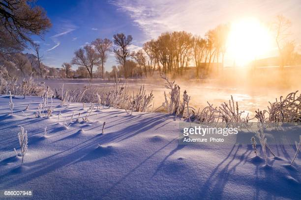 Sunrise with Fresh Snow Outdoors Scenic Mountain Landscape