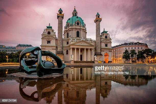 Sunrise with Karlskirche (St. Charles's Church) on the south side of Karlsplatz, Vienna, Austria