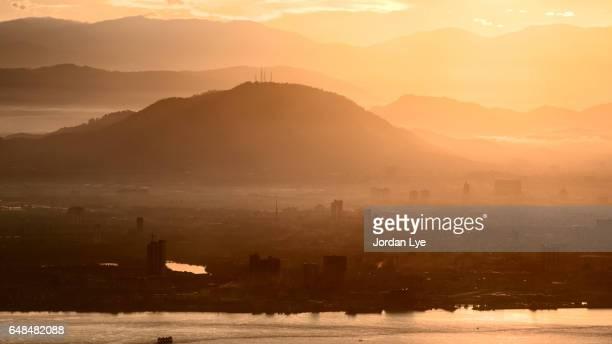 Sunrise with mountain range