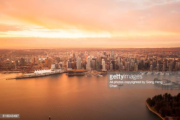 Sunrise/Sunset over Downtown Vancouver, BC, Canada