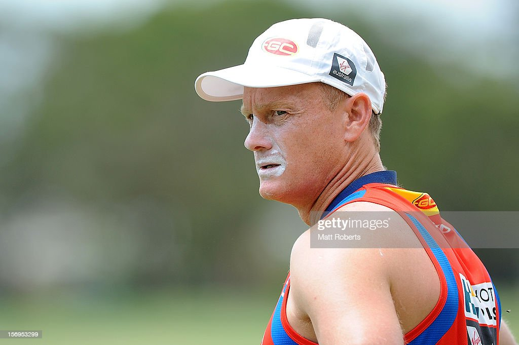 Suns coach Guy McKenna looks on during a Gold Coast Suns pre-season AFL training session at Metricon Stadium on November 26, 2012 on the Gold Coast, Australia.