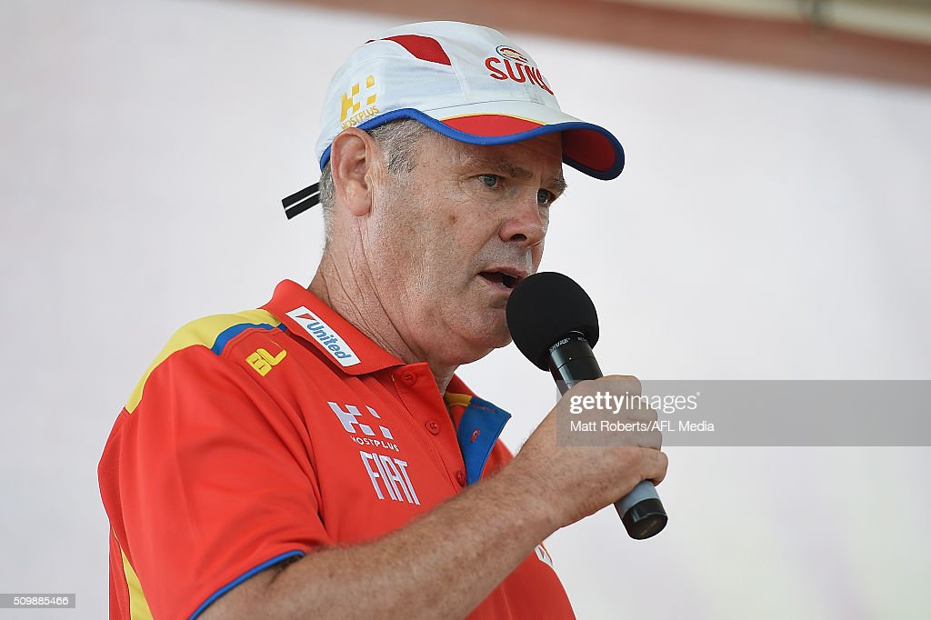 Suns coach <a gi-track='captionPersonalityLinkClicked' href=/galleries/search?phrase=Rodney+Eade&family=editorial&specificpeople=216380 ng-click='$event.stopPropagation()'>Rodney Eade</a> speaks on stage during the Gold Coast Suns AFL open day at Metricon Stadium on February 13, 2016 on the Gold Coast, Australia.