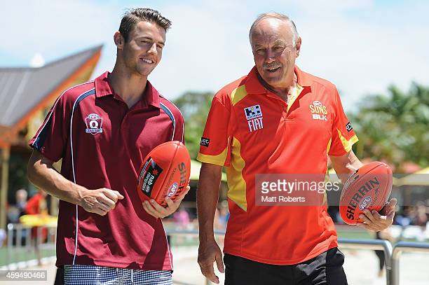 Suns Coaching Advisor Malcolm Blight speaks with Lachie Weller ahead of the 2014 AFL draft on November 24 2014 on the Gold Coast Australia