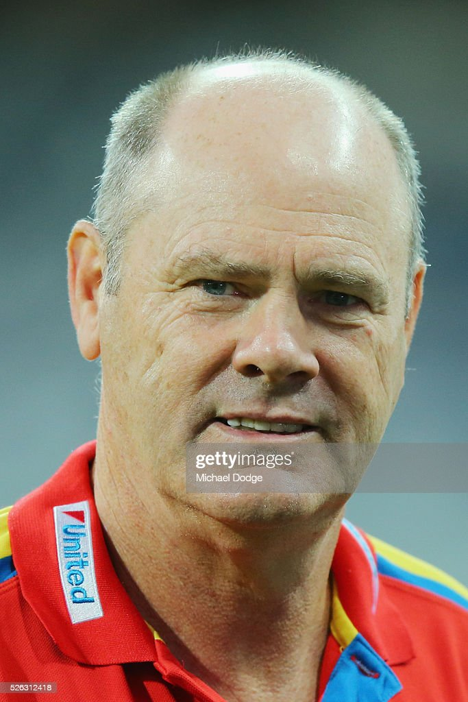 Suns head coach <a gi-track='captionPersonalityLinkClicked' href=/galleries/search?phrase=Rodney+Eade&family=editorial&specificpeople=216380 ng-click='$event.stopPropagation()'>Rodney Eade</a> looks on during the round six AFL match between the Geelong Cats and the Gold Coast Suns at Simonds Stadium on April 30, 2016 in Geelong, Australia.