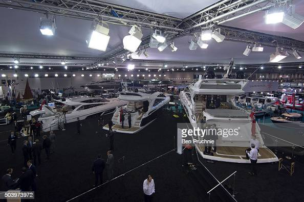 Sunseeker boats are displayed during the London Boat Show at ExCel on January 8 2016 in London England The London Boat Show taking place from 8 17...