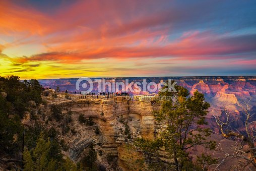 Sunset above south rim of Grand Canyon from the Mather Point : Stock Photo