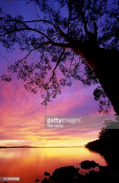 Sunset across Norfolk Bay on the Tasman Peninsula, Tasmania, Australia.