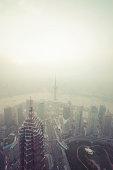 Sunset and Air pollution on Shanghai skyline, China