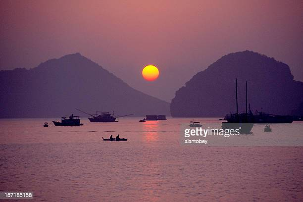Sunset and Boats, Ha Long Bay, Vietnam