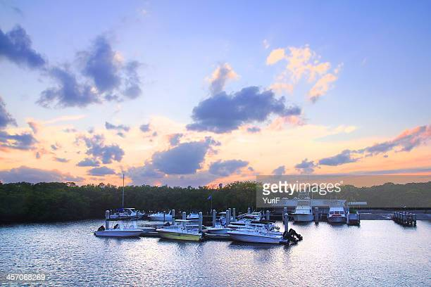 Sunset and boats in Key Largo.
