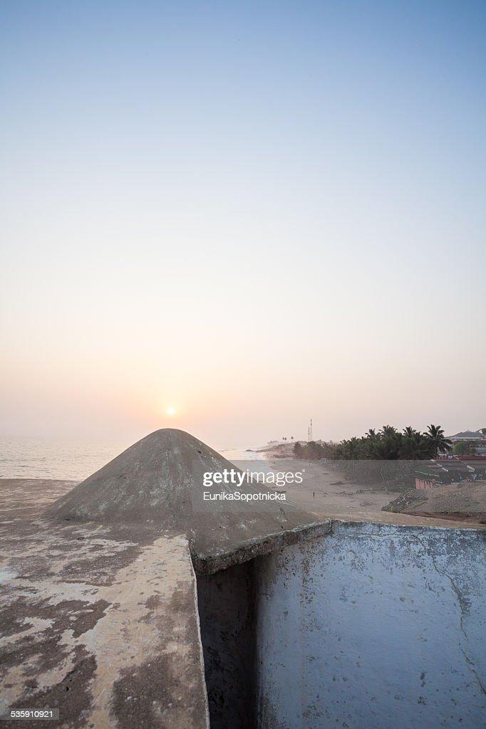 Sunset and Cape Coast Castle, Ghana, Africa : Stock Photo