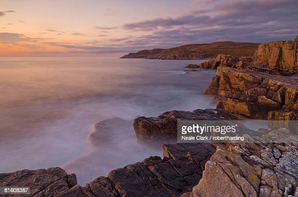 Sunset and incoming tide taken with a slow shutter speed, Mellon Charles, Wester Ross, Scotland, United Kingdom, Europe