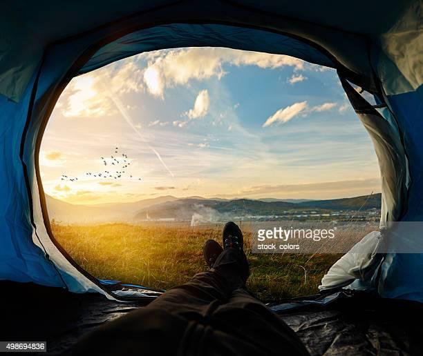 Sonnenuntergang und Natur erforschen