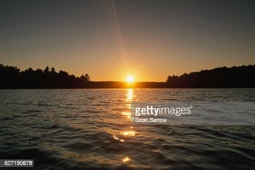 Sunset at a lake : Stockfoto