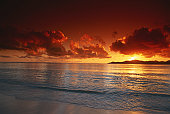 Sunset at beach, view