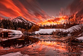 This is a Winter sunset in Big Cottonwood Canyon near Salt Lake City, UT.