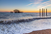 Brighton's Old West Pier at Sunset