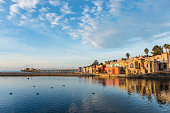 Sunset of vibrant Capitola houses