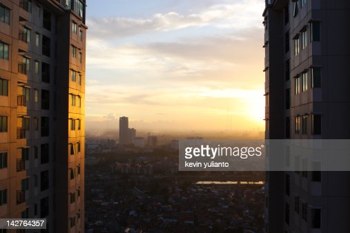 Sunset at cityscape : Stock Photo