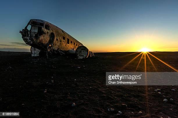 Sunset at Dakota DC3 plane wreckage in Iceland
