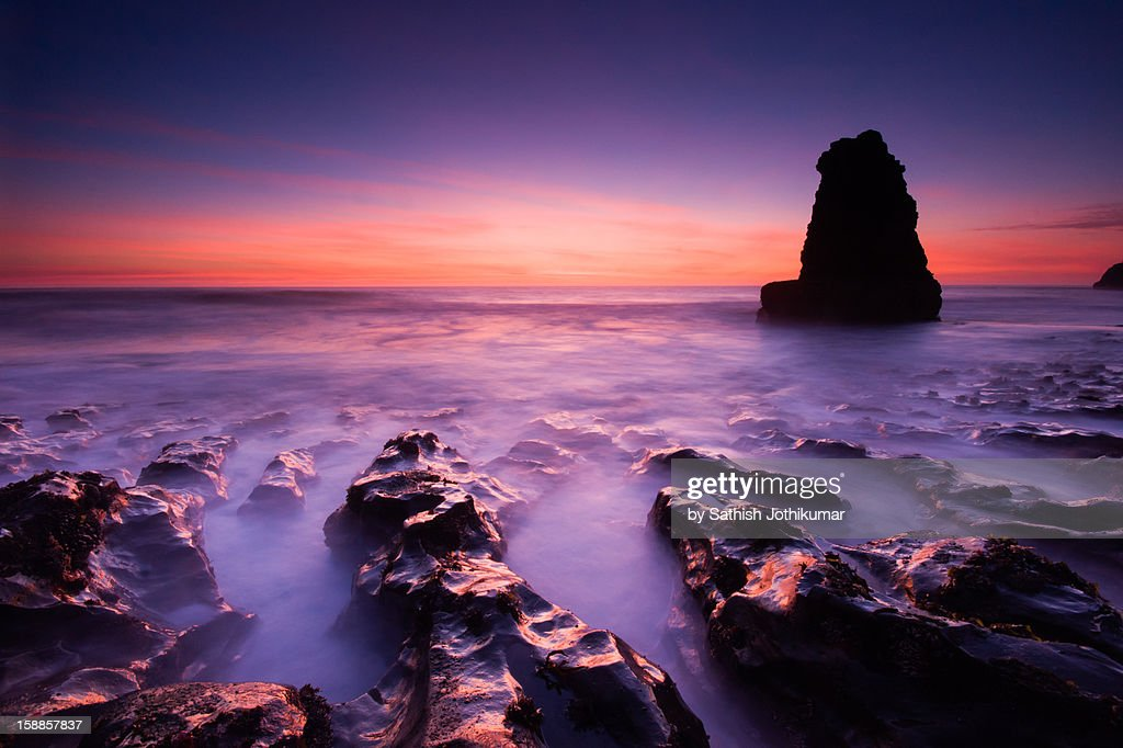 Sunset at Davenport State Beach : Stock Photo