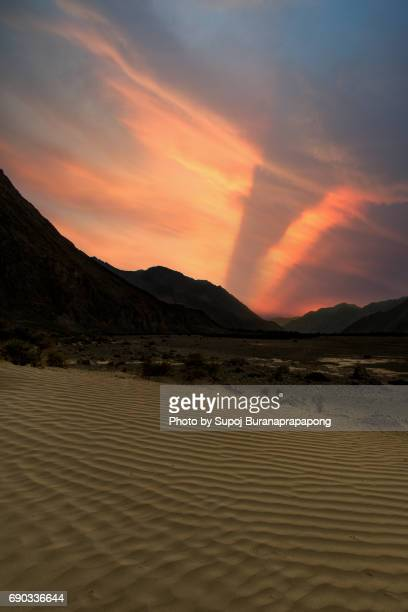 Sunset at Desert area nubra valley part of leh ladakh region , jammu and kashmir , north india