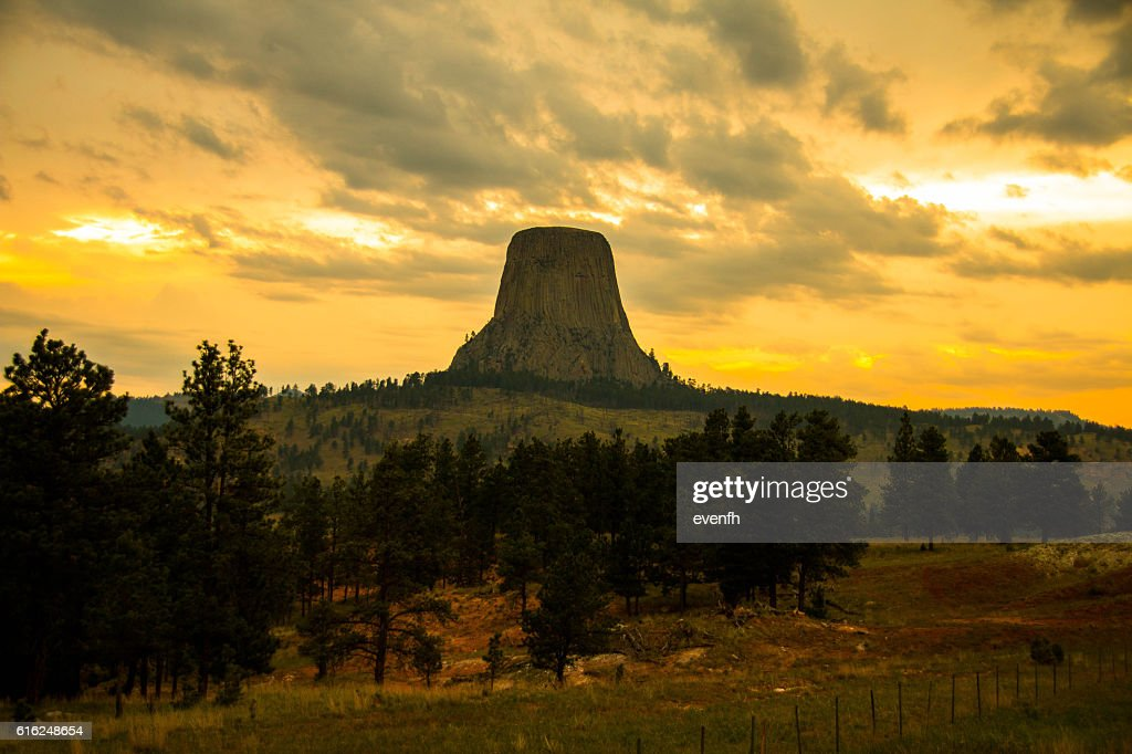 Sunset at Devil's Tower, Wyoming : Stock Photo