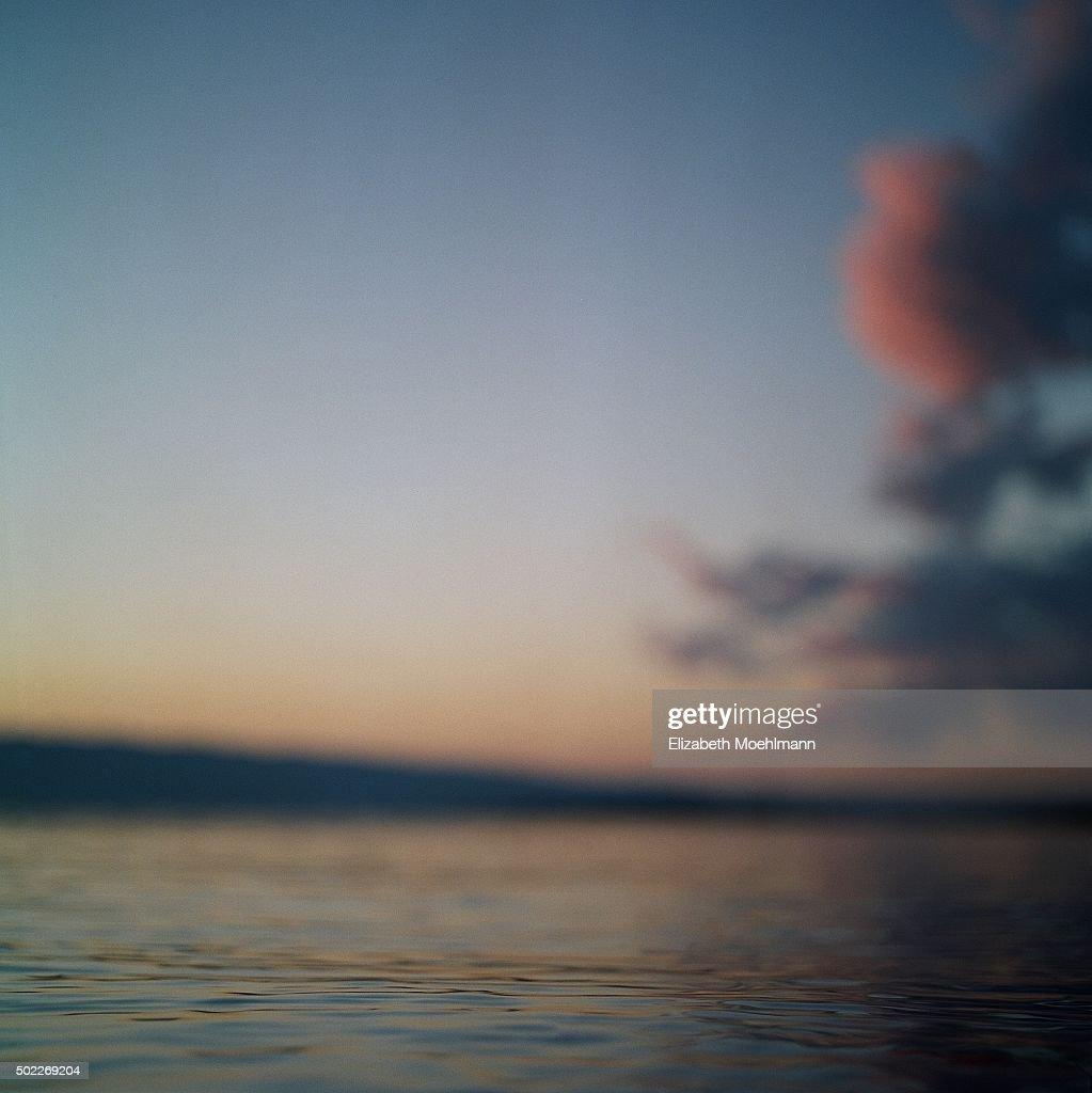 Sunset at Flathead Lake, Montana with Vivid Clouds